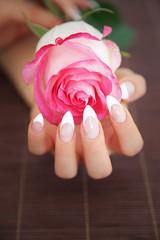 French Nägel mit Rose