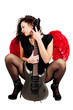 Beautiful girl with red angel wings and guitar isolated