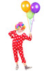 Male clown in costume holding bunch of balloons