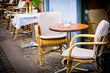 Vintage old fashioned cafe chairs with table in Copenhagen, Denm