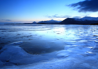 Frozen coast in Iceland