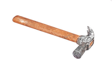 Rusty shoemaker hammer, isolated on white background