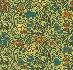 Decorative floral retro seamless background