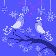 Two winter birds in love