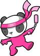 Cute Pink Panda Bear Ninja Vector