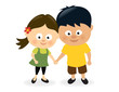 Girl and boy holding hands
