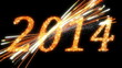 2014: Fireworks and Sparkling symbols of New Year. Alpha