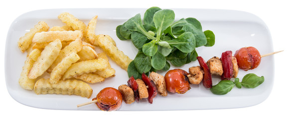 Portion of Skewer and French Fries on white
