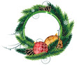 Pine Tree wreath with Christmas baubles and pine cones