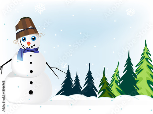 Snowman in a  pine forest
