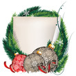Pine Tree wreath with Christmas balls and sheet of paper