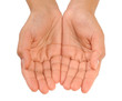 Beautiful cupped hands of young woman - cut out on white