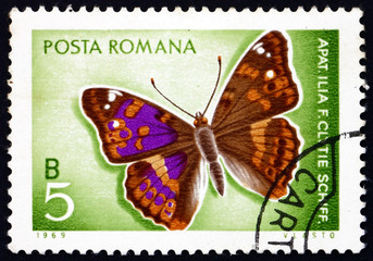 Postage stamp Romania 1969 Lesser Purple Emperor, Butterfly