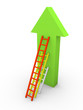 Three ladders with different length leaning the arrow