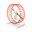 3d man running in the hamster wheel