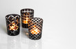Tealights in black and white candleholders