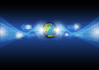digital arrow with global