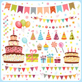 Fototapety Set of birthday party elements