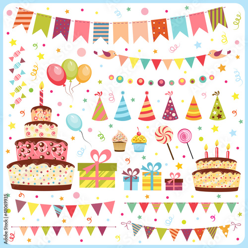 Set of birthday party elements - 48069935