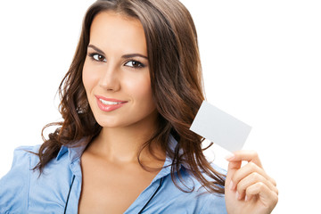 Businesswoman with blank business card, isolated