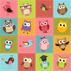 patchwork background with owls © ann_precious