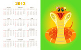 Calendar for 2013 year with yellow snake on green background (we