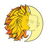 Поцелуй, луна, солнце, мифология, клипарт, вектор eps