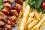 Fresh grilled Skewer with french fries