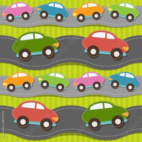 Foto op Plexiglas Op straat Seamless pattern with cars