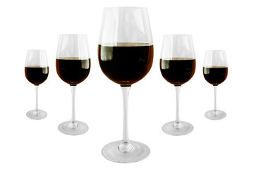 5 Wineglasses with red wine