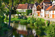 Leinwandbild Motiv Dorf am Fluss, Burgund, Frankreich