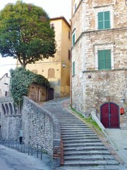 A staircase in the city Perugia in Tuscany in Italy