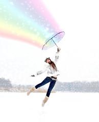 Девушка летит на зонтике