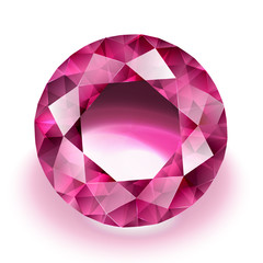 Sparkling ruby on white background