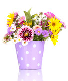 Fototapety beautiful bouquet of bright flowers in metal pot isolated