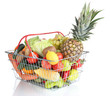 Fresh vegetables and fruits in metal basket isolated on white