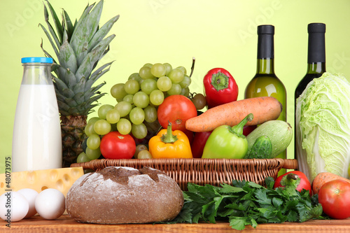 Composition with vegetables  in wicker basket