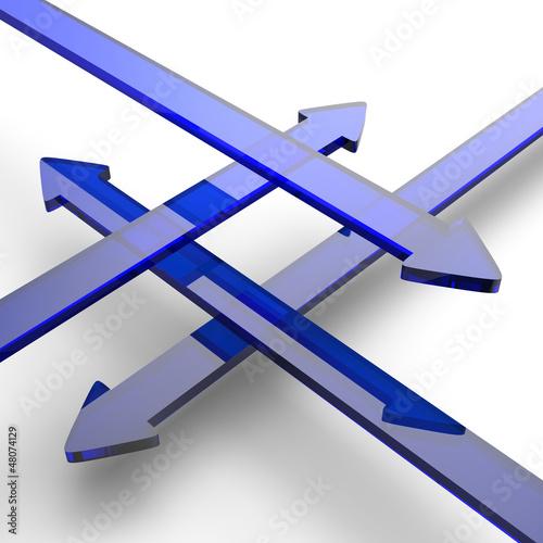 Blaue 3D Pfeile aus Glas in vier Richtungen 2