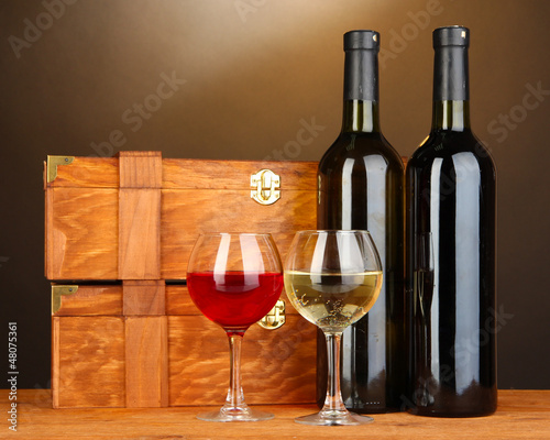 Wooden cases with wine bottles