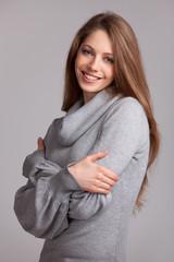 Beautiful woman in a wool knit sweater