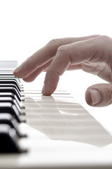 Isolated hand of pianist