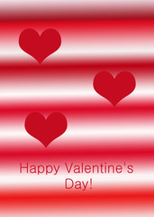 red hearts Valentine's Card