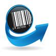 code-barre sur bouton flêche bleue