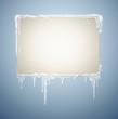 Schild mit Schnee und Eiszapfen
