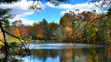 Serene lake timelapse of fall colors time lapse