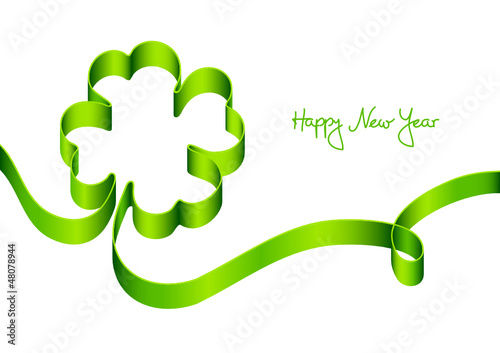 Card New Year´s Eve Green Cloverleaf