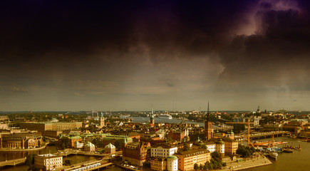 Stockholm, Sweden. Aerial view of the Old Town (Gamla Stan).