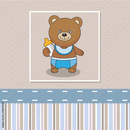 bear with baby bottle. Baby boy arrival announcement card