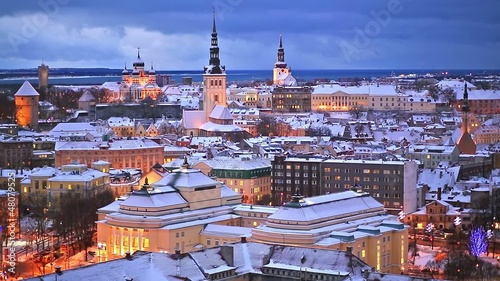 Winter night aerial scenery of Tallinn, Estonia