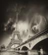 Storm above Eiffel Tower in Paris